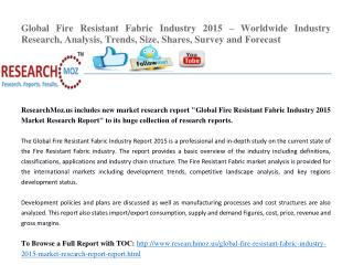 Global Fire Resistant Fabric Industry 2015 Market Research Report