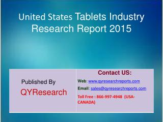 United States Tablets Market 2015 Industry Size, Research, Analysis, Applications, Growth, Insights, Overview and Foreca