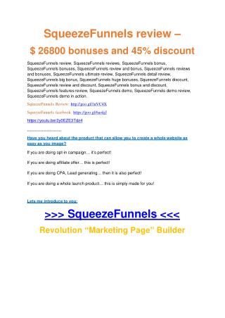 Squeeze Funnels review - 65% Discount and FREE $14300 BONUS