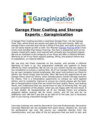 Garage Floor Coating and Storage Experts - Garaginization