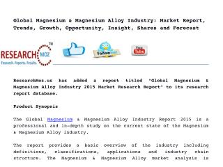 Global Magnesium & Magnesium Alloy Industry 2015 Market Research Report