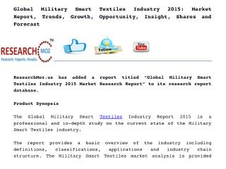 Global Military Smart Textiles Industry 2015 Market Research Report