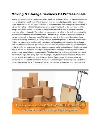 Moving & Storage Services| Florida, Georgia, North Carolina