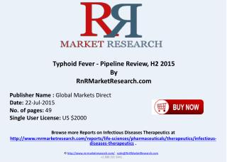 Typhoid Fever Pipeline Therapeutics Development Review H2 2015