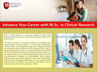 MSc in Clinical Research, Part Time Courses For Science Graduates