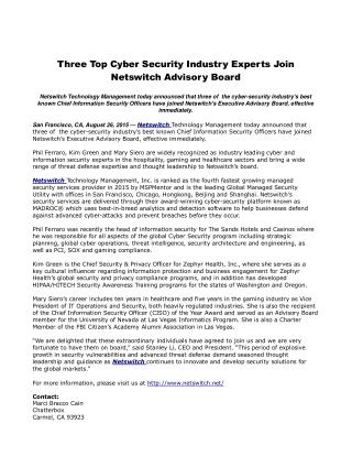 Three Top Cyber Security Industry Experts Join Netswitch Advisory Board