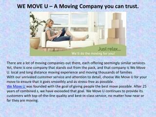 We move u � a moving company you