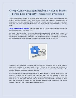 Cheap Conveyancing in Brisbane Helps to Makes Stress Less Property Transaction Processes