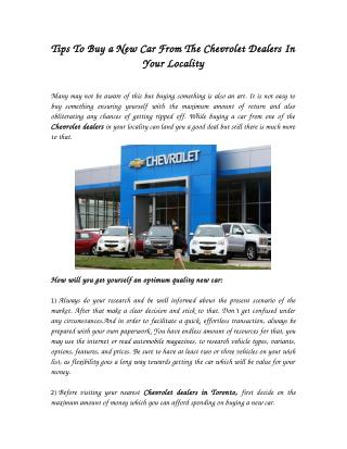 Tips To Buy a New Car From The Chevrolet Dealers In Your Locality