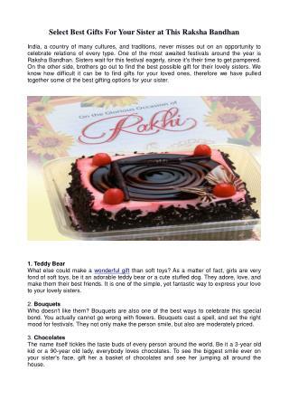 Select Best Gifts For Your Sister at This Raksha Bandhan