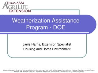 Weatherization Assistance Program - DOE
