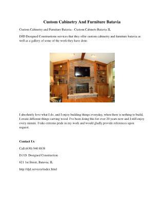 Custom Cabinetry And Furniture Batavia