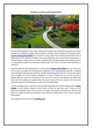 Benefits on Garden Landscaping Dublin