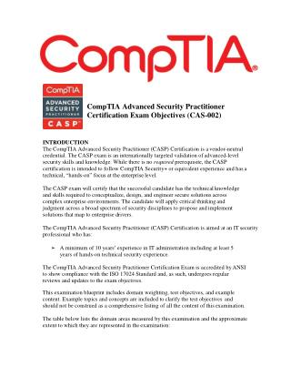 CompTIA CAS-002 VCE Outline