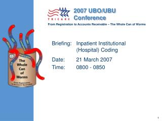 Briefing: Inpatient Institutional Hospital Coding Date: 21 March 2007 Time: 0800 - 0850