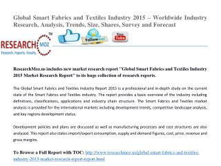 Global Smart Fabrics and Textiles Industry 2015 Market Research Report