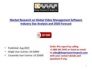 2015 Global Video Management Software industry Statistics and Opportunities Report