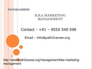 B.B.A MARKETING MANAGEMENT @8527271018