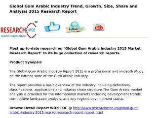 Global Gum Arabic Industry 2015 Market Research Report