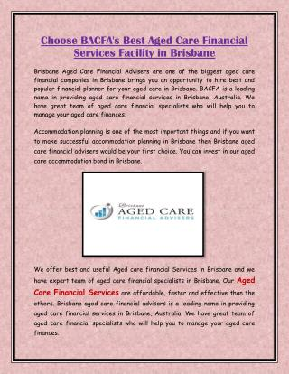 Choose BACFA's Best Aged Care Financial Services Facility in Brisbane