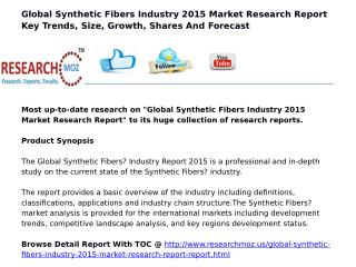 Global Synthetic Fibers Industry 2015 Market Research Report