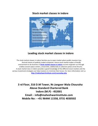 leading stock market classes in indore