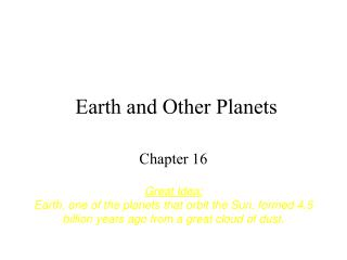 Earth and Other Planets