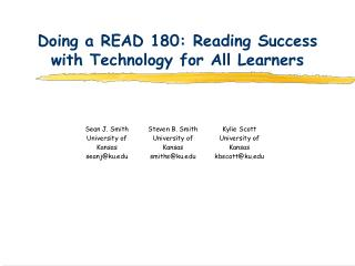 Doing a READ 180: Reading Success with Technology for All Learners