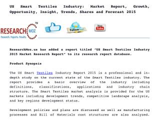 US Smart Textiles Industry: Market Report, Growth, Opportunity, Insight, Trends, Shares and Forecast 2015