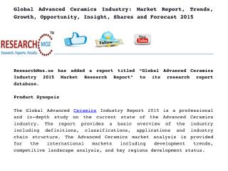 Global Advanced Ceramics Industry: Market Report, Trends, Growth, Opportunity, Insight, Shares and Forecast 2015