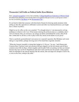 Woonsocket Call Profile on Political Staffer Ryan Bilodeau