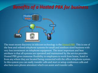Benefits of a Hosted PBX for business