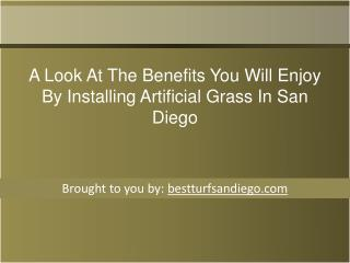 A Look At The Benefits You Will Enjoy By Installing Artificial Grass In   San Diego