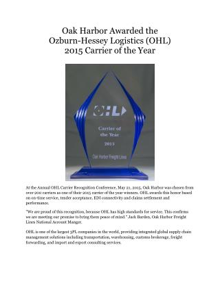 Oak Harbor Awarded the Ozburn-Hessey Logistics (OHL) 2015 Carrier of the Year