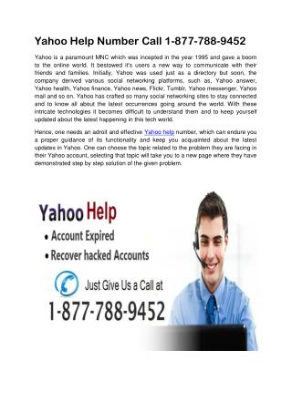 Yahoo Help Number Call 1-877-788-9452