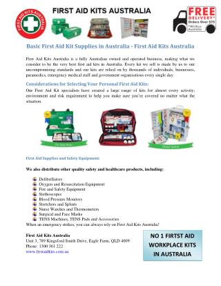 Basic First Aid Kit Supplies in Australia - First Aid Kits Australia