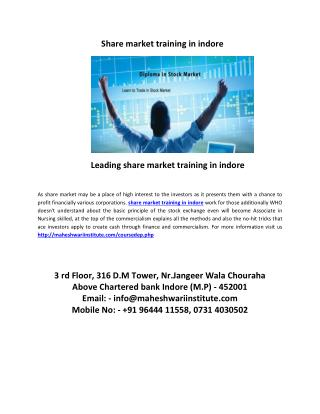 leading share market training in indore