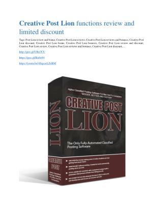 Creative Post Lion review and MEGA $38,000 Bonus - 80% Discount