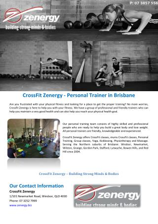 Cross fit zenergy personal trainer in brisbane