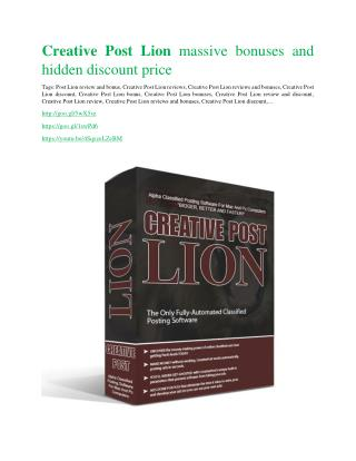 Creative Post Lion REVIEW and GIANT $21600 bonuses