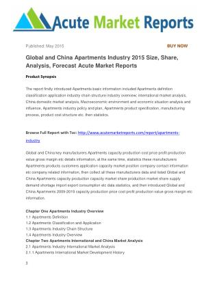 Global and China Apartments Industry 2015 Size, Share, Analysis, Forecast Acute Market Reports
