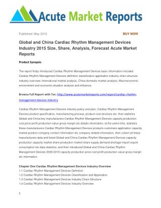 Global and China Cardiac Rhythm Management Devices Industry 2015 Size, Share, Analysis, Forecast Acute Market Reports