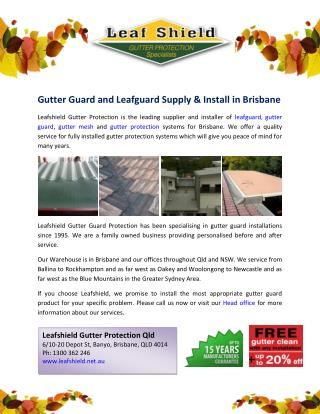 Gutter Guard and Leafguard Supply & Install in Brisbane