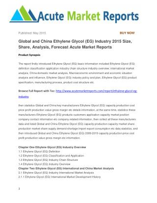 Global and China Ethylene Glycol (EG) Industry 2015 Size, Share, Analysis, Forecast Acute Market Reports
