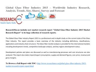 Global Glass Fiber Industry 2015 – Worldwide Industry Research, Analysis, Trends, Size, Shares, Survey and Forecast