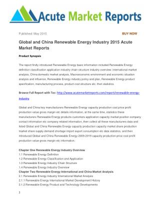 Global and China Renewable Energy Industry 2015 Acute Market Reports