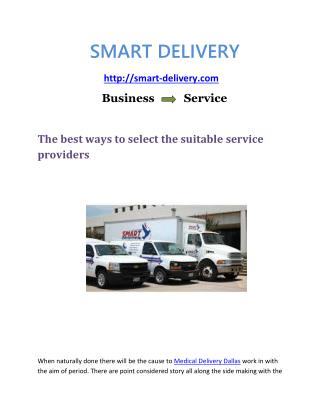 Medical Delivery Logistics Services Dallas