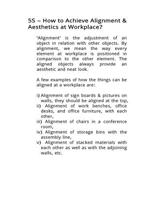 5S – How to Achieve Alignment & Aesthetics at Workplace?