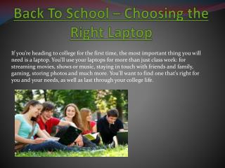 Back To School � Choosing the Right Laptop