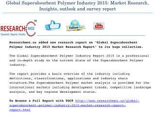 Global Superabsorbent Polymer Industry 2015 Market Research Report